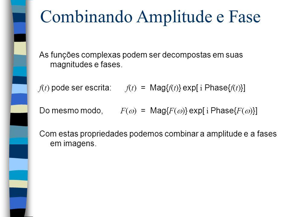 Combinando Amplitude e Fase As funções complexas podem ser decompostas em suas magnitudes e fases.