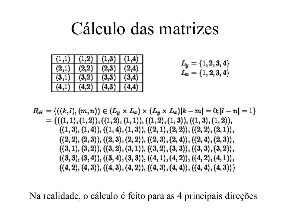Matrizes de Co-ocorrência Procuram caracterizar a textura ao analisar as probabilidades de transição de níveis de cinza através do que é conhecido com