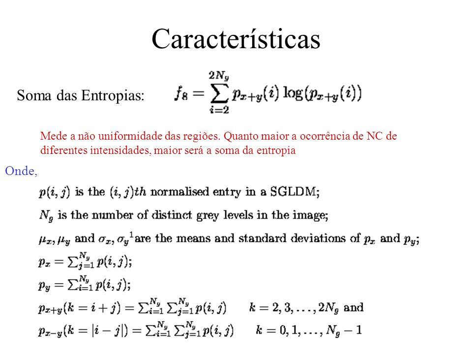 Características Contraste: Correlação: Segundo Momento Angular: Mede a dispersão dos níveis de cinza Mede a correlação entre a intensidade do NC e a u