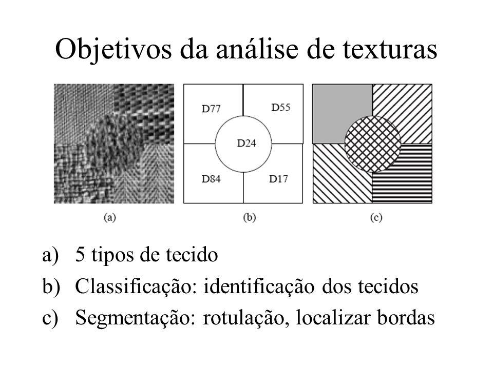 Objetivos da análise de texturas a)5 tipos de tecido b)Classificação: identificação dos tecidos c)Segmentação: rotulação, localizar bordas