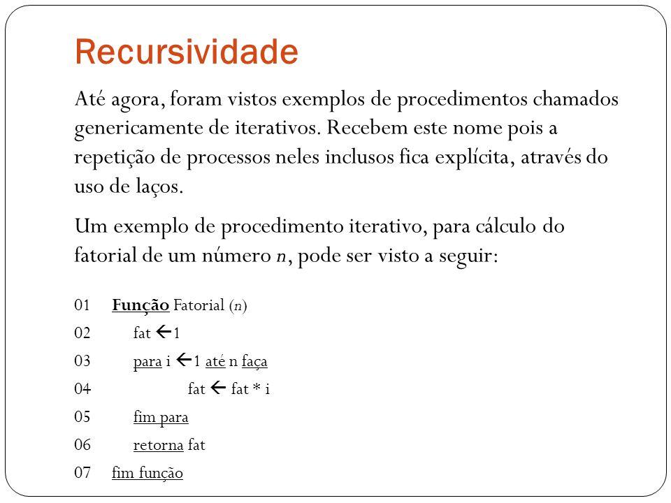 Recursividade Até agora, foram vistos exemplos de procedimentos chamados genericamente de iterativos. Recebem este nome pois a repetição de processos