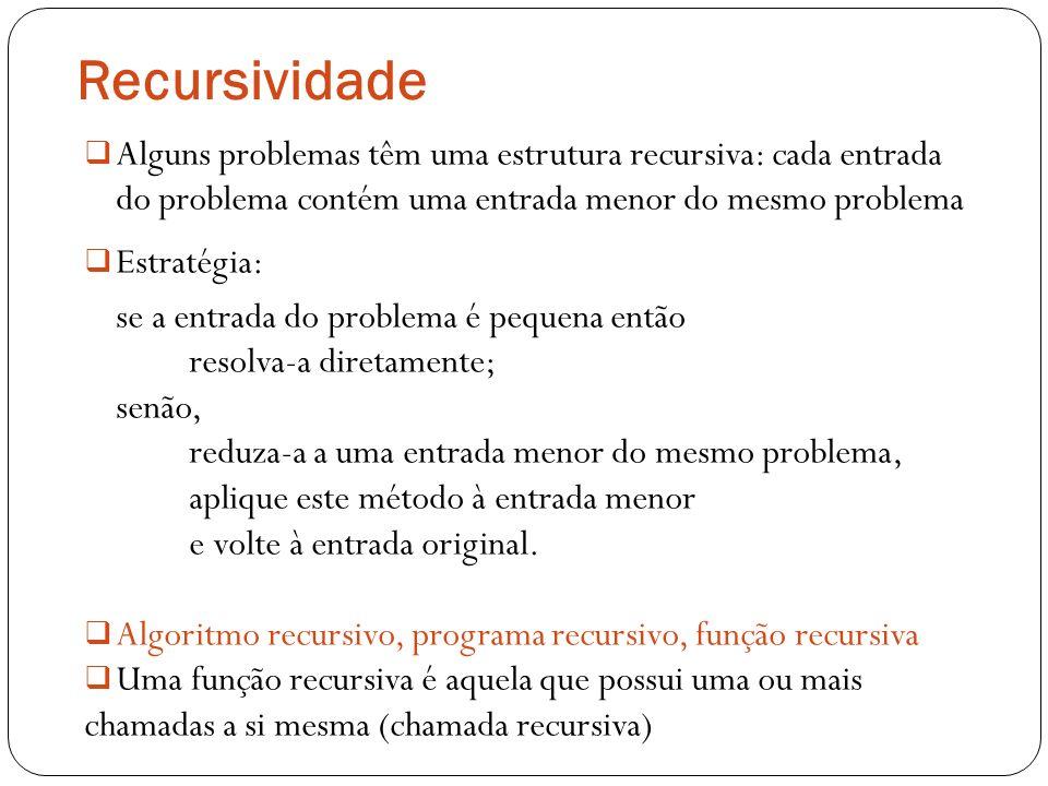 Recursividade Alguns problemas têm uma estrutura recursiva: cada entrada do problema contém uma entrada menor do mesmo problema Estratégia: se a entra