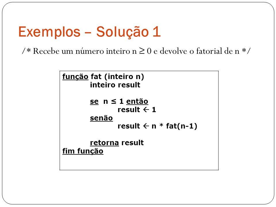 Exemplos – Solução 1 /* Recebe um número inteiro n 0 e devolve o fatorial de n */ função fat (inteiro n) inteiro result se n 1 então result 1 senão re
