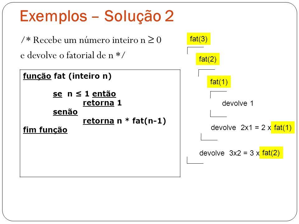 Exemplos – Solução 2 fat(3) fat(2) fat(1) devolve 1 devolve 2x1 = 2 xfat(1) devolve 3x2 = 3 x fat(2) /* Recebe um número inteiro n 0 e devolve o fator