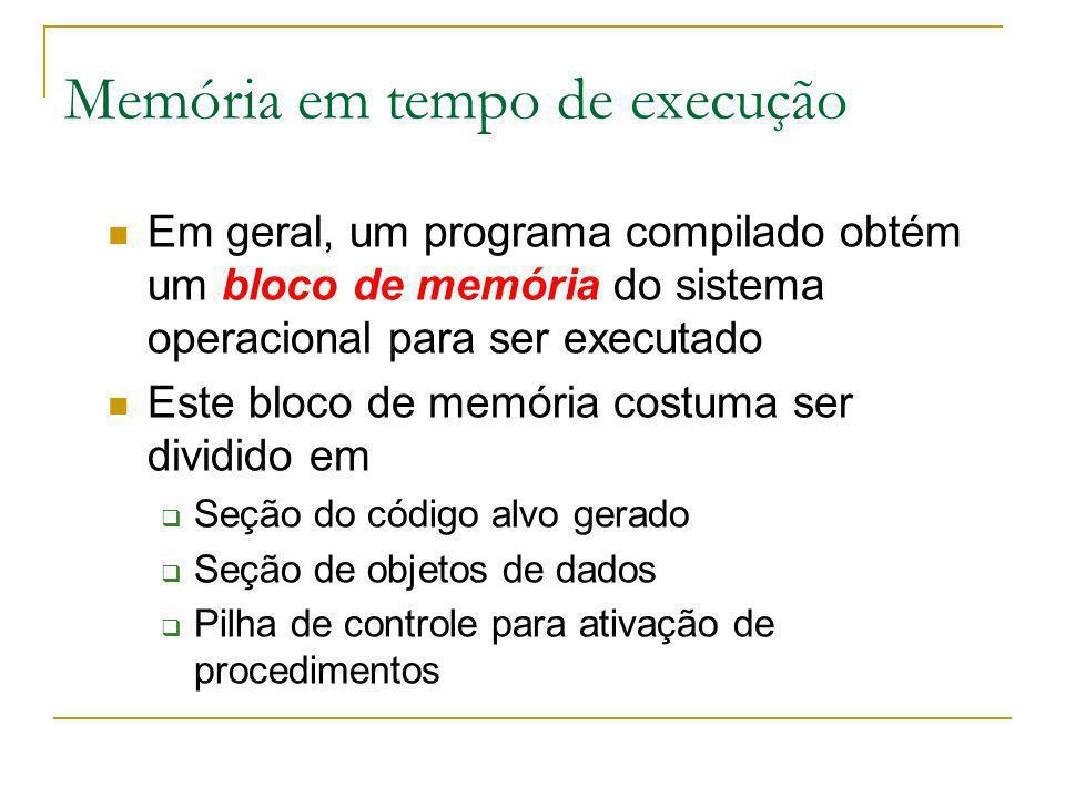 Memória em tempo de execução Em geral, um programa compilado obtém um bloco de memória do sistema operacional para ser executado Este bloco de memória