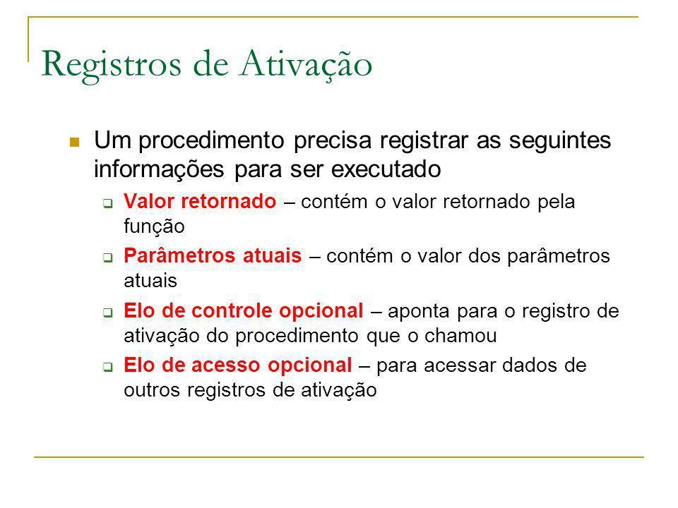 Registros de Ativação Um procedimento precisa registrar as seguintes informações para ser executado Valor retornado – contém o valor retornado pela fu
