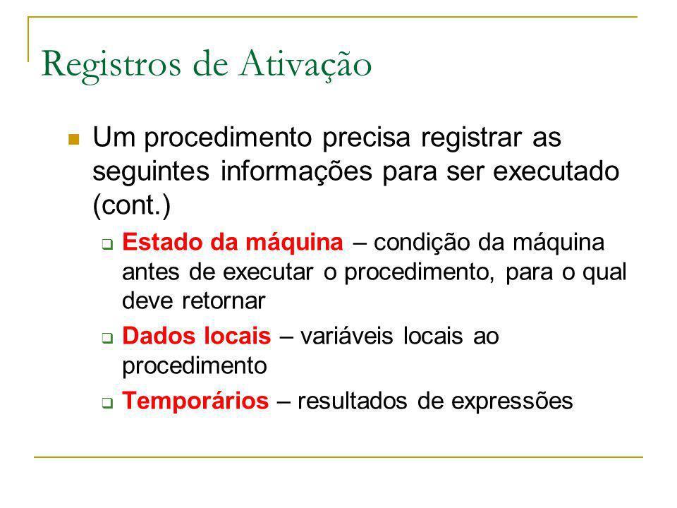 Registros de Ativação Um procedimento precisa registrar as seguintes informações para ser executado (cont.) Estado da máquina – condição da máquina an