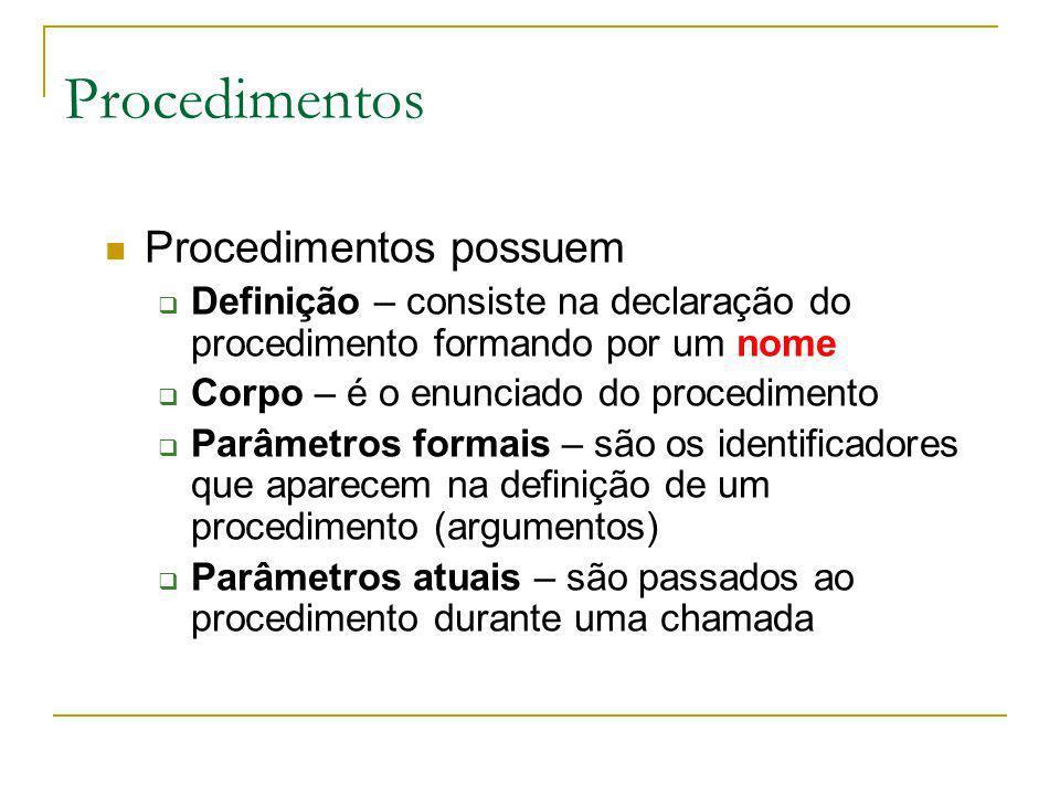 Procedimentos Procedimentos possuem Definição – consiste na declaração do procedimento formando por um nome Corpo – é o enunciado do procedimento Parâ