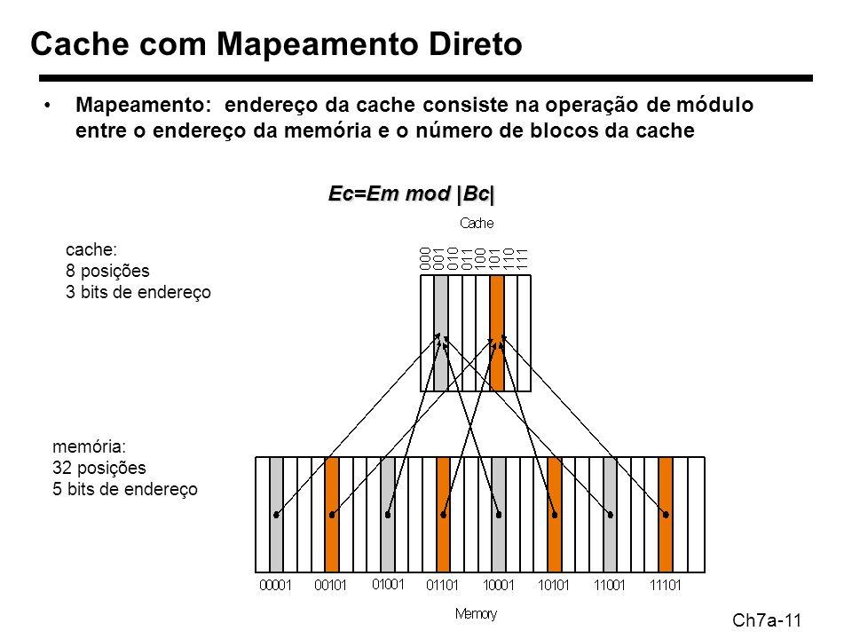 Ch7a-11 Mapeamento: endereço da cache consiste na operação de módulo entre o endereço da memória e o número de blocos da cache Ec=Em mod |Bc| Cache com Mapeamento Direto cache: 8 posições 3 bits de endereço memória: 32 posições 5 bits de endereço