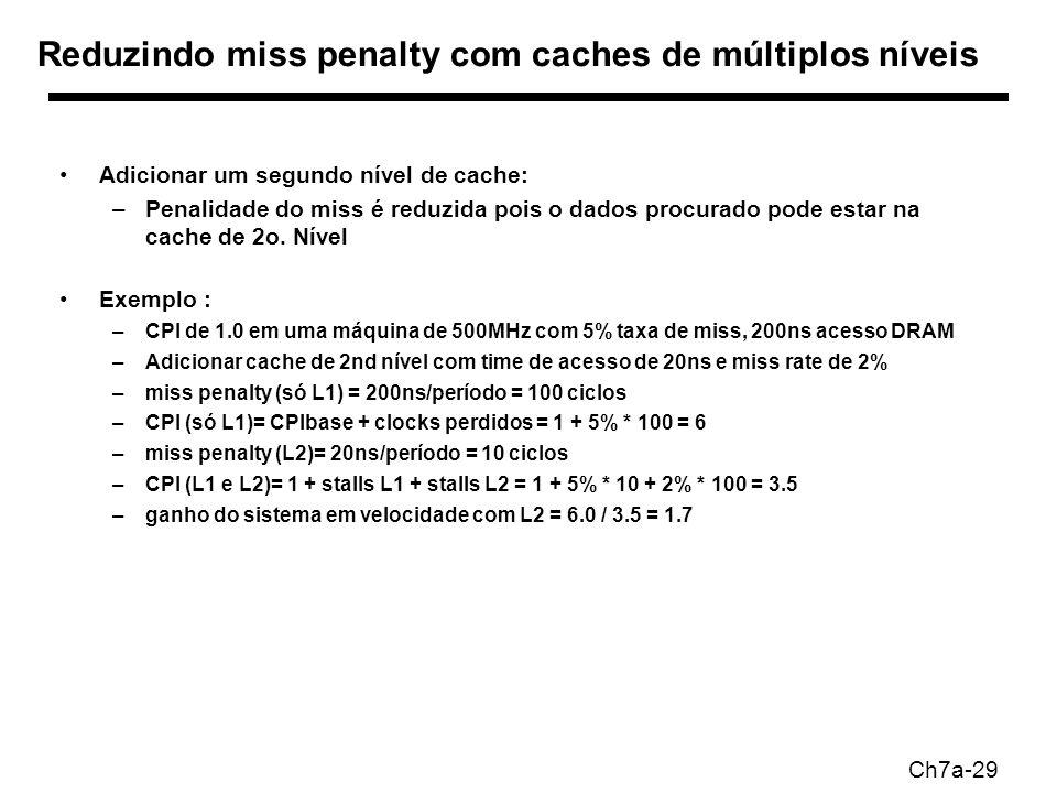 Ch7a-29 Reduzindo miss penalty com caches de múltiplos níveis Adicionar um segundo nível de cache: –Penalidade do miss é reduzida pois o dados procurado pode estar na cache de 2o.