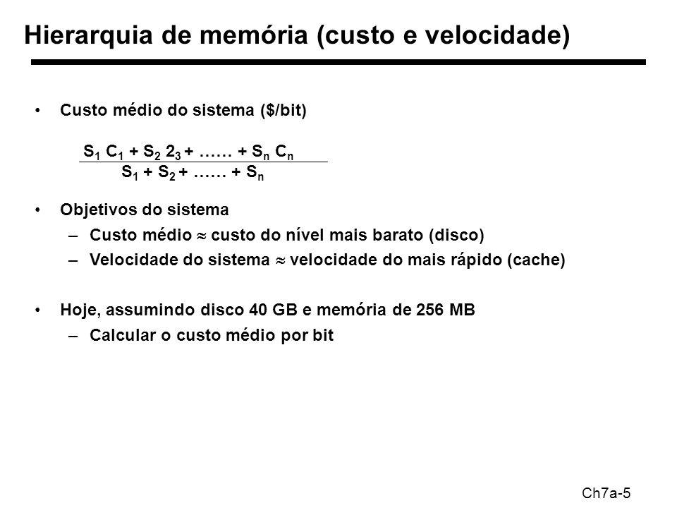 Ch7a-5 Hierarquia de memória (custo e velocidade) Custo médio do sistema ($/bit) S 1 C 1 + S 2 2 3 + …… + S n C n S 1 + S 2 + …… + S n Objetivos do sistema –Custo médio custo do nível mais barato (disco) –Velocidade do sistema velocidade do mais rápido (cache) Hoje, assumindo disco 40 GB e memória de 256 MB –Calcular o custo médio por bit