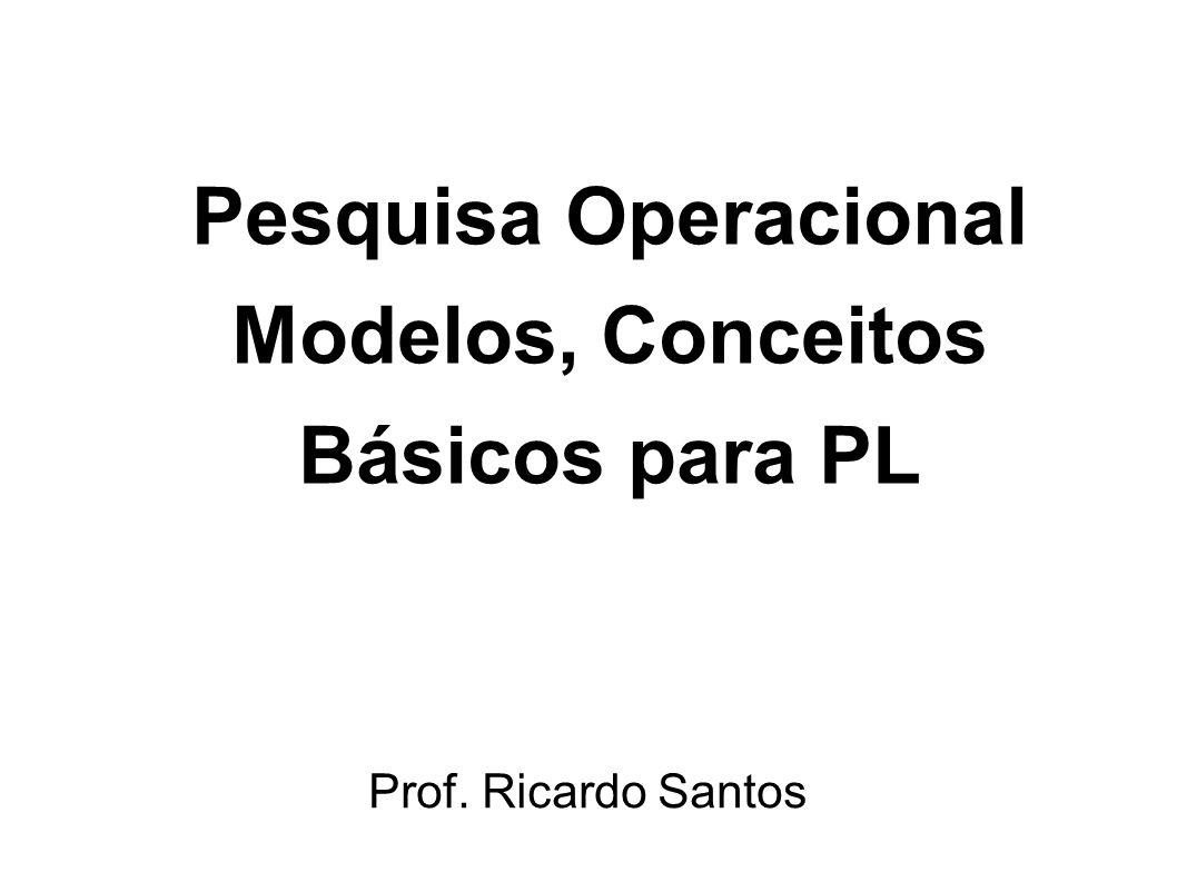 Pesquisa Operacional Modelos, Conceitos Básicos para PL Prof. Ricardo Santos