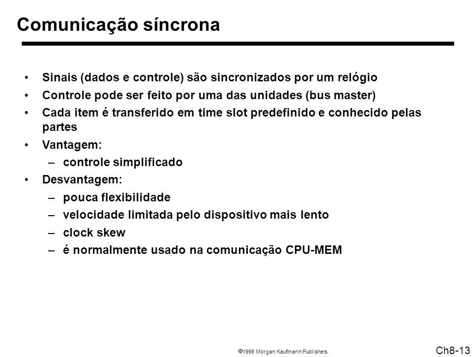 1998 Morgan Kaufmann Publishers Ch8-13 Comunicação síncrona Sinais (dados e controle) são sincronizados por um relógio Controle pode ser feito por uma