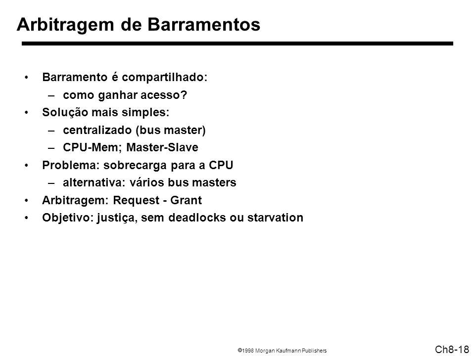1998 Morgan Kaufmann Publishers Ch8-18 Arbitragem de Barramentos Barramento é compartilhado: –como ganhar acesso.