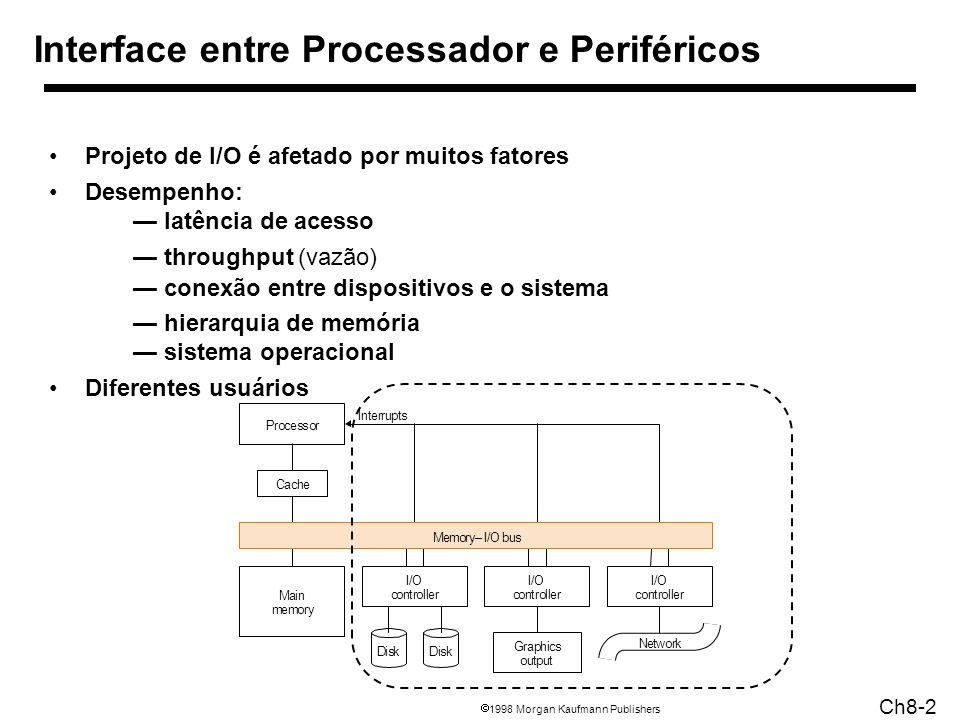 1998 Morgan Kaufmann Publishers Ch8-2 Interface entre Processador e Periféricos Projeto de I/O é afetado por muitos fatores Desempenho: latência de acesso throughput (vazão) conexão entre dispositivos e o sistema hierarquia de memória sistema operacional Diferentes usuários