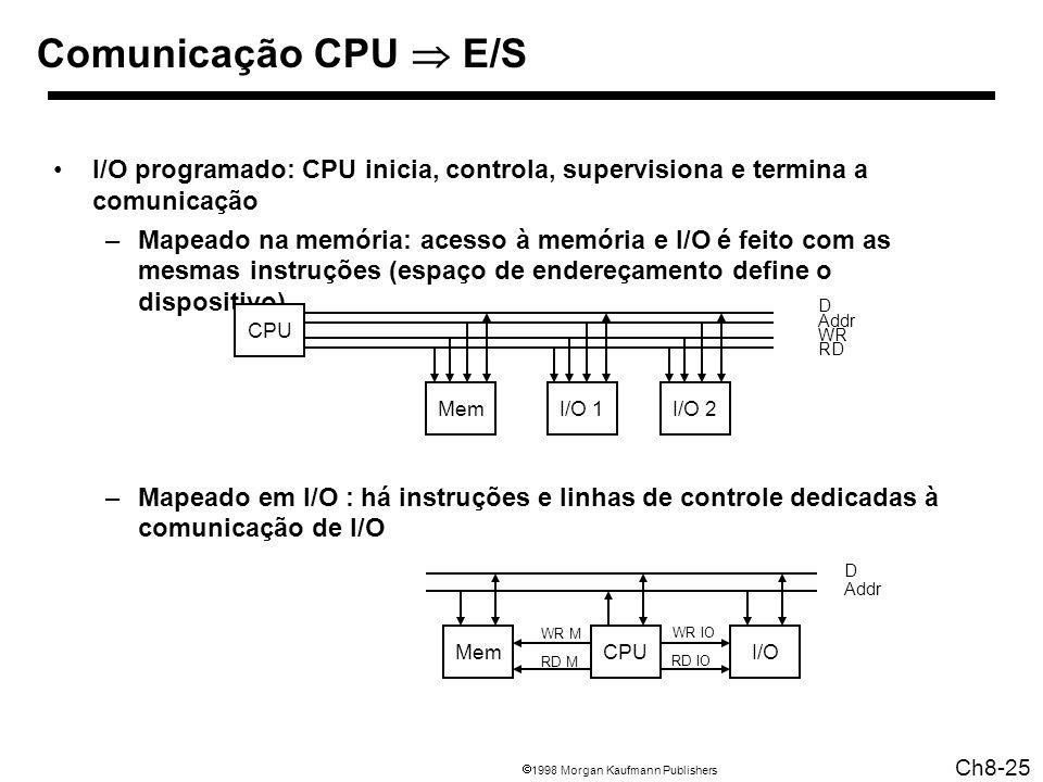 1998 Morgan Kaufmann Publishers Ch8-25 Comunicação CPU E/S I/O programado: CPU inicia, controla, supervisiona e termina a comunicação –Mapeado na memória: acesso à memória e I/O é feito com as mesmas instruções (espaço de endereçamento define o dispositivo) –Mapeado em I/O : há instruções e linhas de controle dedicadas à comunicação de I/O CPU MemI/O 1I/O 2 D Addr WR RD CPUI/O D Addr Mem WR M RD M WR IO RD IO