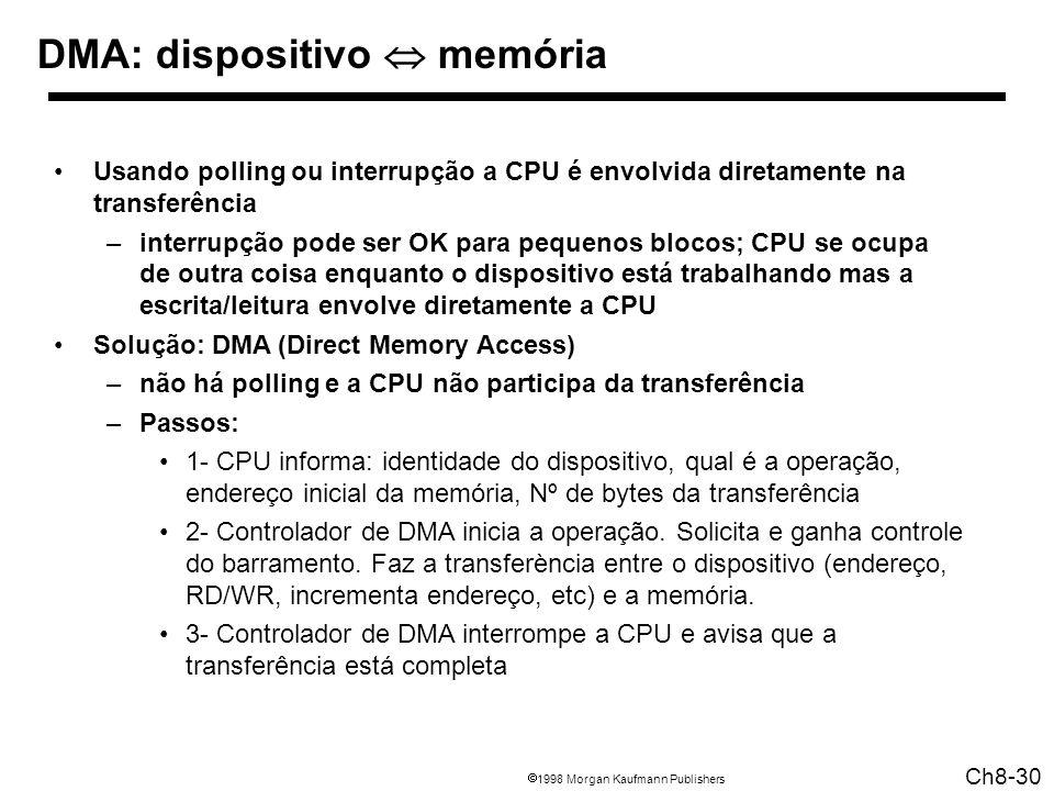 1998 Morgan Kaufmann Publishers Ch8-30 DMA: dispositivo memória Usando polling ou interrupção a CPU é envolvida diretamente na transferência –interrup