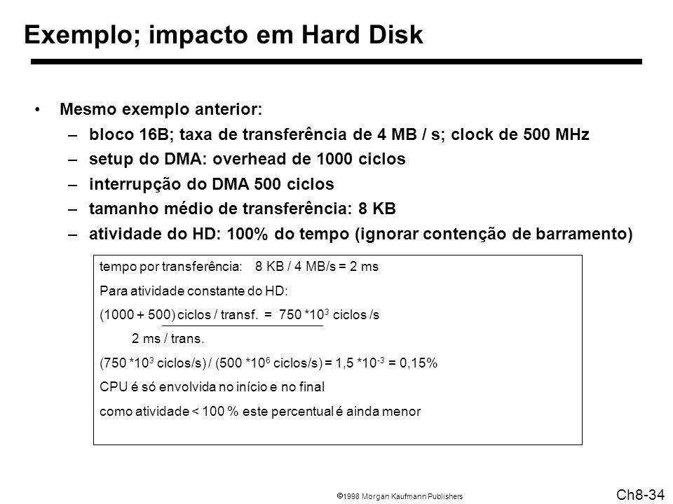 1998 Morgan Kaufmann Publishers Ch8-34 tempo por transferência: 8 KB / 4 MB/s = 2 ms Para atividade constante do HD: (1000 + 500) ciclos / transf.