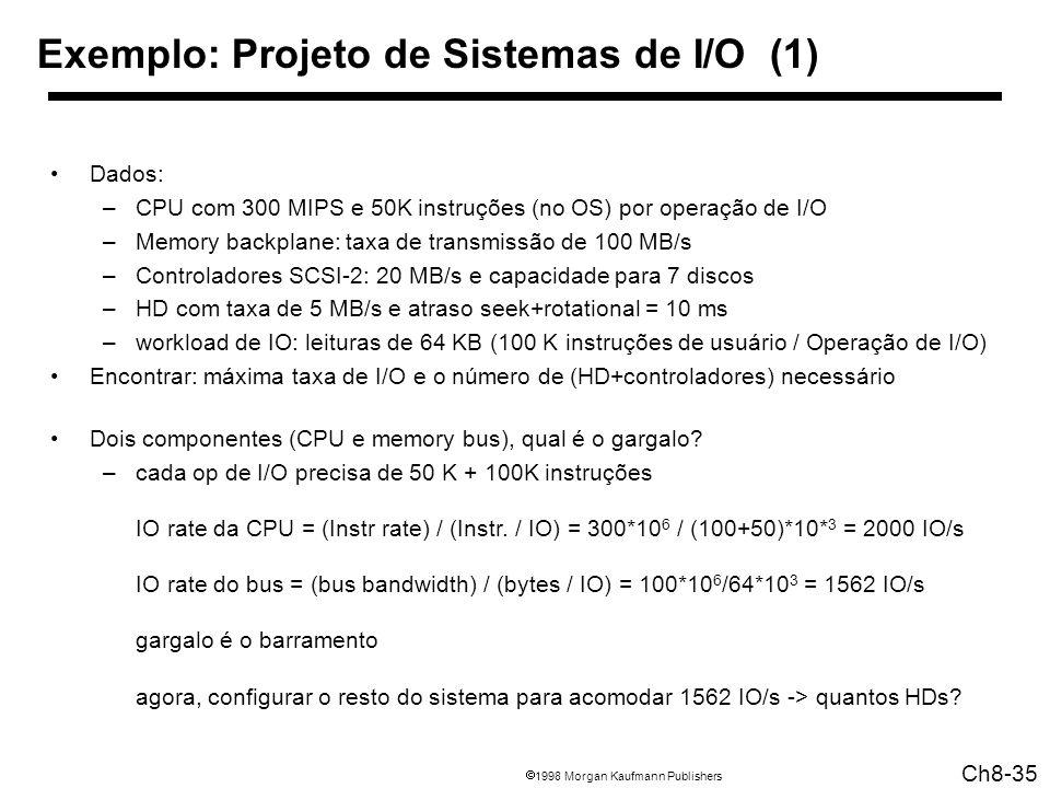 1998 Morgan Kaufmann Publishers Ch8-35 Exemplo: Projeto de Sistemas de I/O (1) Dados: –CPU com 300 MIPS e 50K instruções (no OS) por operação de I/O –