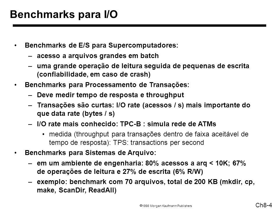 1998 Morgan Kaufmann Publishers Ch8-4 Benchmarks para I/O Benchmarks de E/S para Supercomputadores: –acesso a arquivos grandes em batch –uma grande operação de leitura seguida de pequenas de escrita (confiabilidade, em caso de crash) Benchmarks para Processamento de Transações: –Deve medir tempo de resposta e throughput –Transações são curtas: I/O rate (acessos / s) mais importante do que data rate (bytes / s) –I/O rate mais conhecido: TPC-B : simula rede de ATMs medida (throughput para transações dentro de faixa aceitável de tempo de resposta): TPS: transactions per second Benchmarks para Sistemas de Arquivo: –em um ambiente de engenharia: 80% acessos a arq < 10K; 67% de operações de leitura e 27% de escrita (6% R/W) –exemplo: benchmark com 70 arquivos, total de 200 KB (mkdir, cp, make, ScanDir, ReadAll)