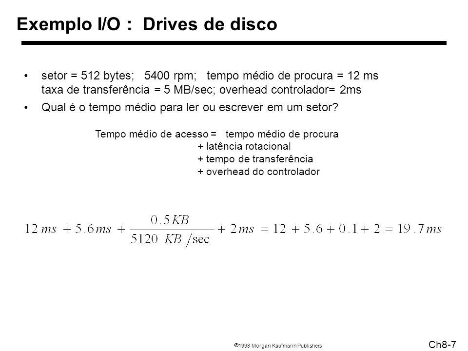 1998 Morgan Kaufmann Publishers Ch8-7 Exemplo I/O : Drives de disco setor = 512 bytes; 5400 rpm; tempo médio de procura = 12 ms taxa de transferência
