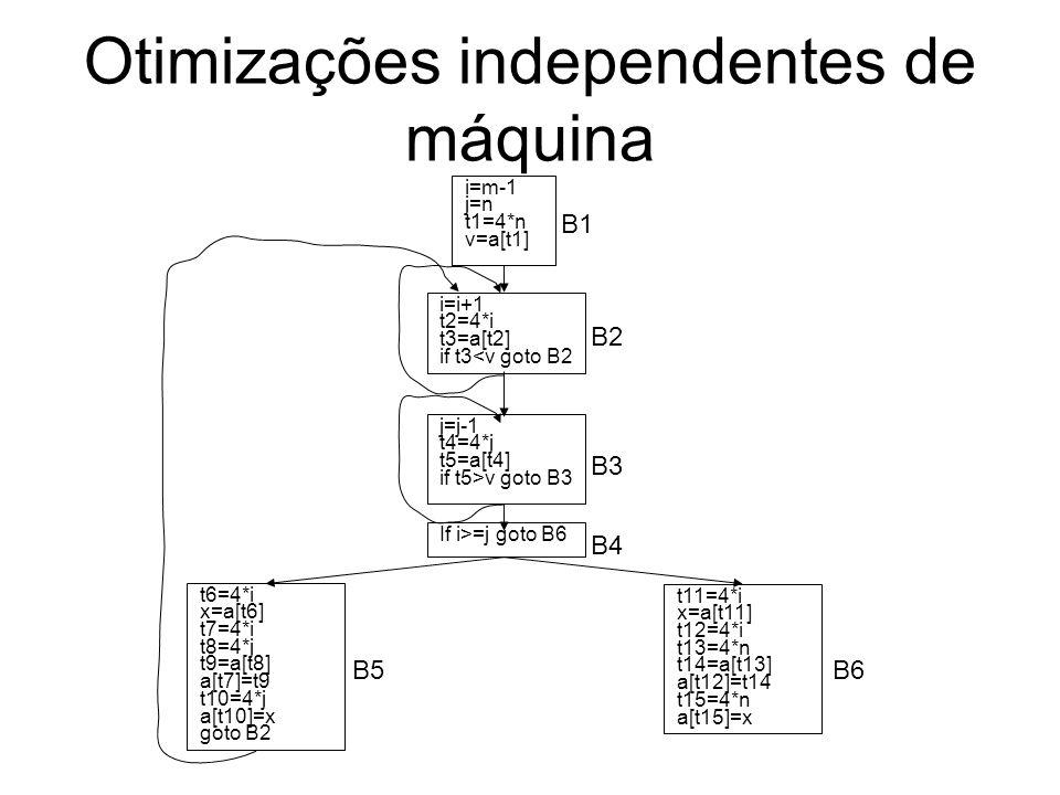 Otimizações independentes de máquina i=m-1 j=n t1=4*n v=a[t1] i=i+1 t2=4*i t3=a[t2] if t3<v goto B2 j=j-1 t4=4*j t5=a[t4] if t5>v goto B3 If i>=j goto