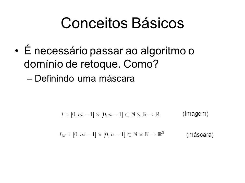 Conceitos Básicos É necessário passar ao algoritmo o domínio de retoque.