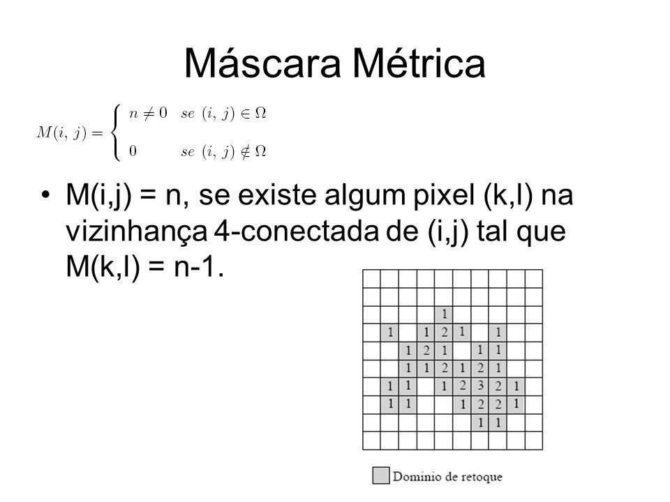 Máscara Métrica M(i,j) = n, se existe algum pixel (k,l) na vizinhança 4-conectada de (i,j) tal que M(k,l) = n-1.