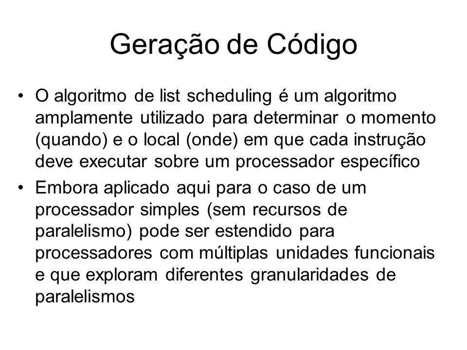 Algoritmo de list scheduling Entrada: um DAG montado a partir de uma expressão Saída: seqüência de instruções escalonadas (DAG escalonado) Método: o algoritmo utiliza alguns conjuntos para determinar a ordem de execução das instruções.