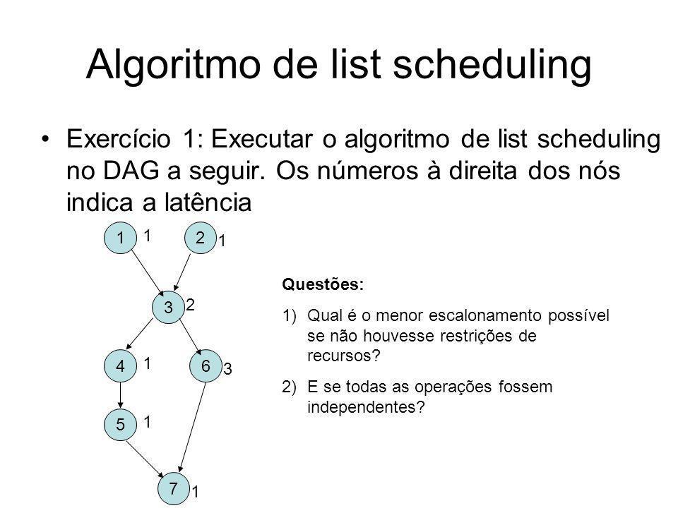 Algoritmo de list scheduling Exercício 2: Considere agora a existência de uma unidade de memória (para instruções lw e sw) e uma unidade aritmética (para instruções lógicas e aritméticas).