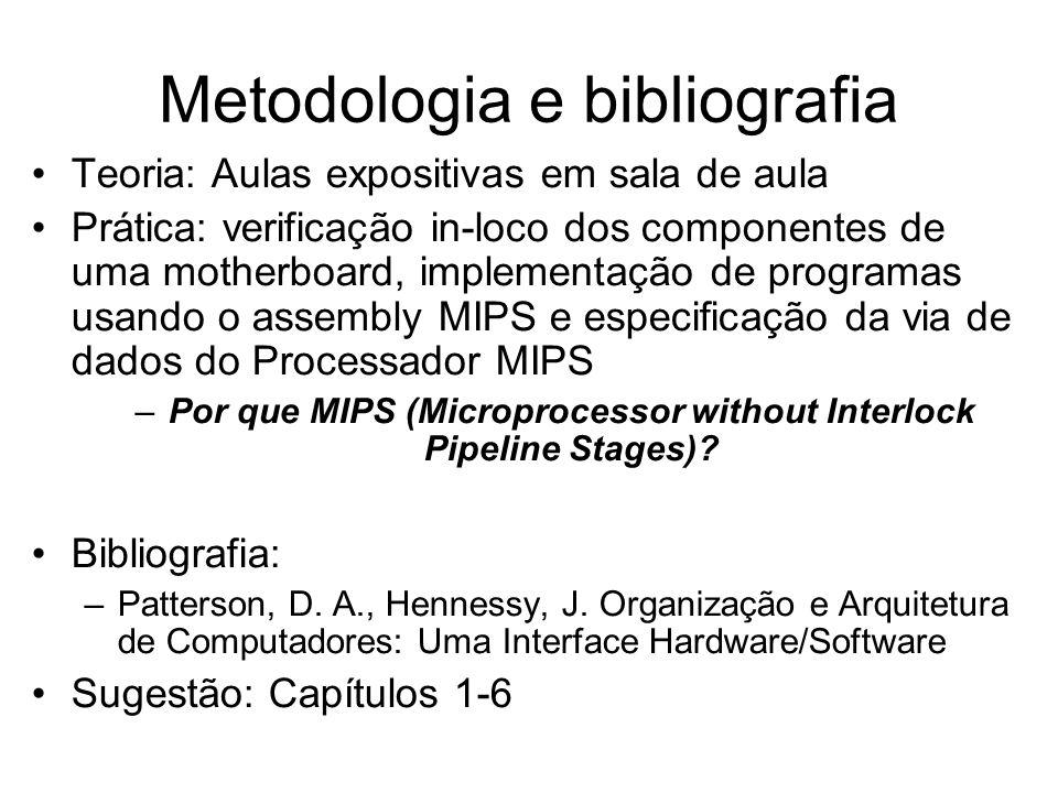 Metodologia e bibliografia Teoria: Aulas expositivas em sala de aula Prática: verificação in-loco dos componentes de uma motherboard, implementação de
