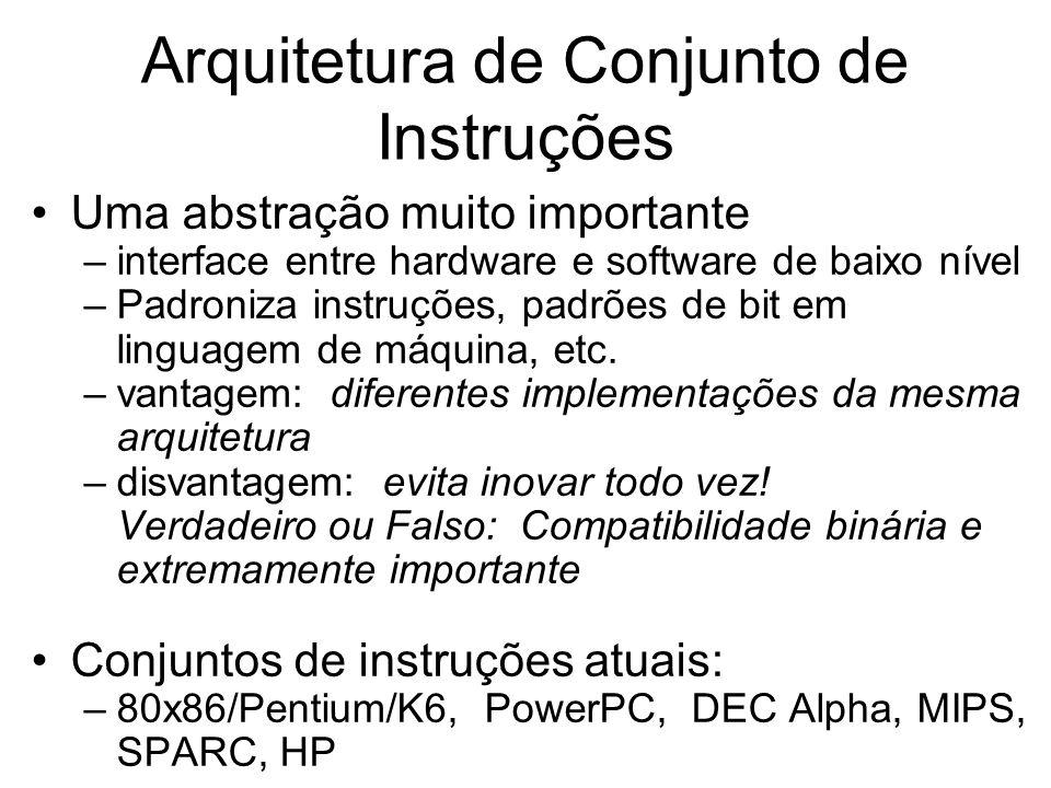 Arquitetura de Conjunto de Instruções Uma abstração muito importante –interface entre hardware e software de baixo nível –Padroniza instruções, padrõe