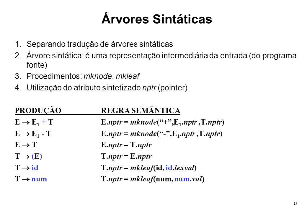 13 Árvores Sintáticas 1.Separando tradução de árvores sintáticas 2.Árvore sintática: é uma representação intermediária da entrada (do programa fonte)