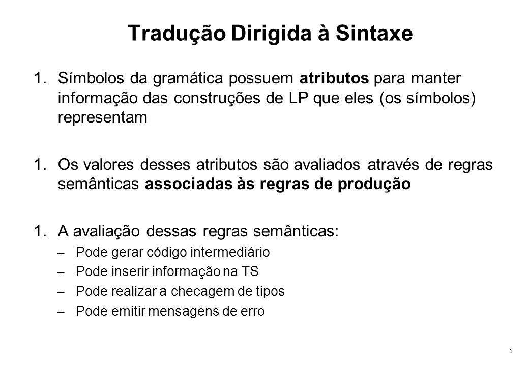 2 Tradução Dirigida à Sintaxe 1.Símbolos da gramática possuem atributos para manter informação das construções de LP que eles (os símbolos) representa