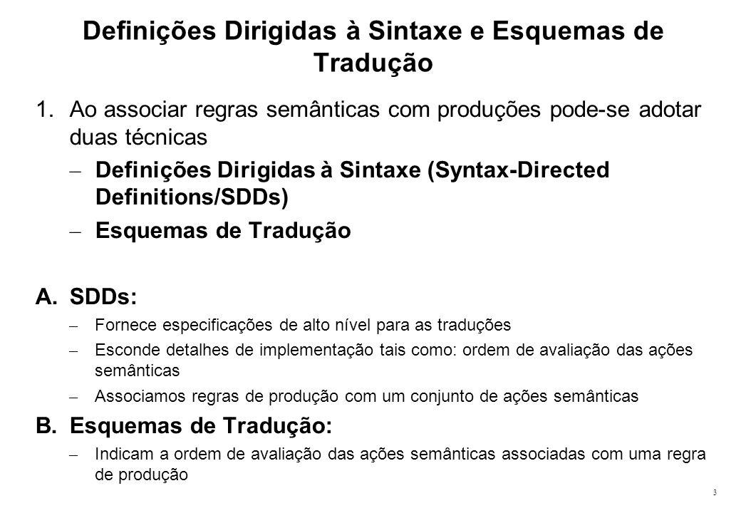 14 Definições S-Atribuídas 1.SDDs são usadas para especificar traduções dirigidas à sintaxe 1.Criar um tradutor para uma SDD arbitrária pode ser complexo 1.É desejável fazer a análise semântica durante a análise sintática (isto é, em um único passo realiza a análise sintática e avalia as regras semânticas).