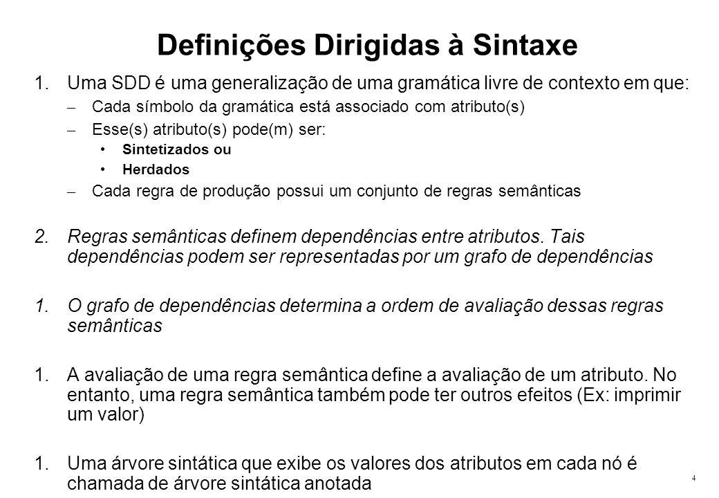 4 Definições Dirigidas à Sintaxe 1.Uma SDD é uma generalização de uma gramática livre de contexto em que: – Cada símbolo da gramática está associado c