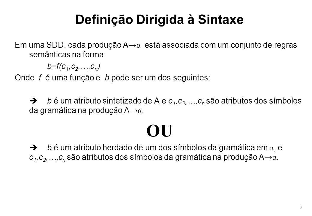 5 Definição Dirigida à Sintaxe Em uma SDD, cada produção A α está associada com um conjunto de regras semânticas na forma: b=f(c 1,c 2,…,c n ) Onde f