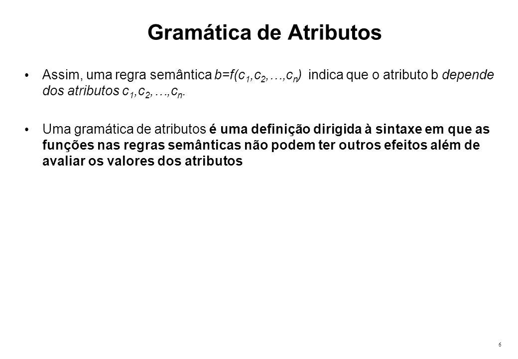 6 Gramática de Atributos Assim, uma regra semântica b=f(c 1,c 2,…,c n ) indica que o atributo b depende dos atributos c 1,c 2,…,c n. Uma gramática de