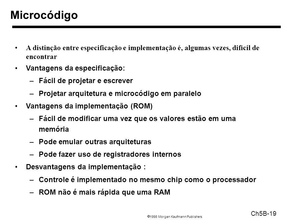 1998 Morgan Kaufmann Publishers Ch5B-19 Microcódigo A distinção entre especificação e implementação é, algumas vezes, difícil de encontrar Vantagens d