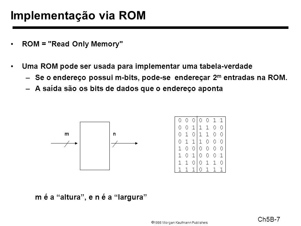 1998 Morgan Kaufmann Publishers Ch5B-18 Não codificado –1 bit para cada operação da via de dados –Mais rápido, requer mais memória (lógica) –Usado pelo Vax 780 incríveis 400K de memória.