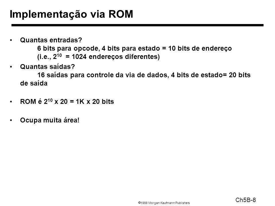 1998 Morgan Kaufmann Publishers Ch5B-9 Divisão da tabela em duas partes 4 bits de estado indicam 16 saídas, 2 4 x 16 bits da ROM 10 bits tell you the 4 next state bits, 2 10 x 4 bits da ROM Total: 4.3K bits de ROM PLA é muito menor Pode compartilhar termos de produtos Necessita apenas de entradas que produzem uma saída ativa Pode levar em conta sinais do tipo don t care Tamanho é (#inputs #product-terms) + (#outputs #product-terms) Para o nosso exemplo = (10x17)+(20x17) = 460 células de PLA ROM vs PLA
