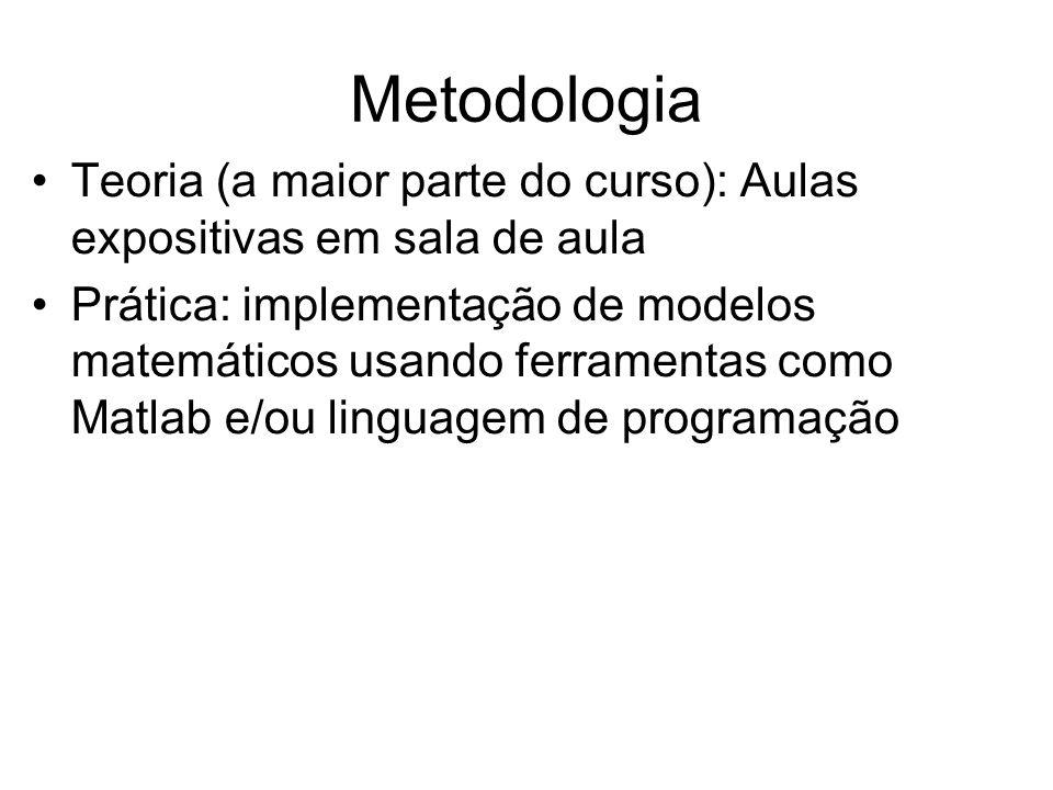 Metodologia Teoria (a maior parte do curso): Aulas expositivas em sala de aula Prática: implementação de modelos matemáticos usando ferramentas como Matlab e/ou linguagem de programação