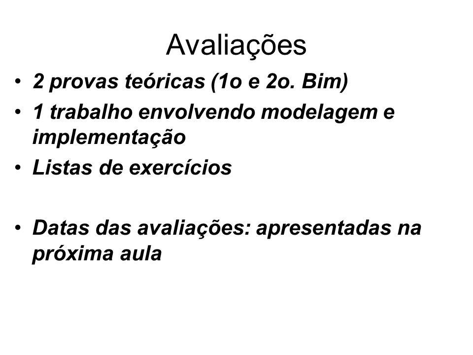 Avaliações 2 provas teóricas (1o e 2o. Bim) 1 trabalho envolvendo modelagem e implementação Listas de exercícios Datas das avaliações: apresentadas na