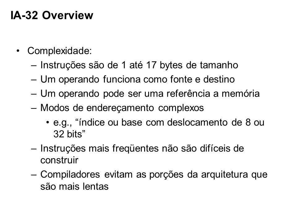 IA-32 Overview Complexidade: –Instruções são de 1 até 17 bytes de tamanho –Um operando funciona como fonte e destino –Um operando pode ser uma referên