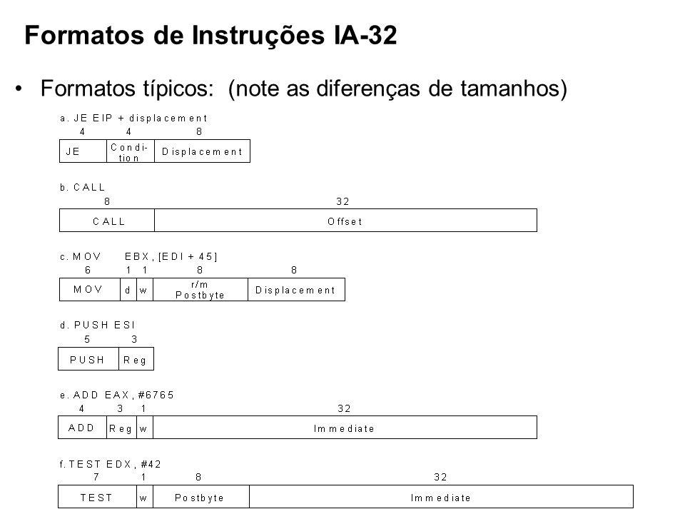 Formatos de Instruções IA-32 Formatos típicos: (note as diferenças de tamanhos)