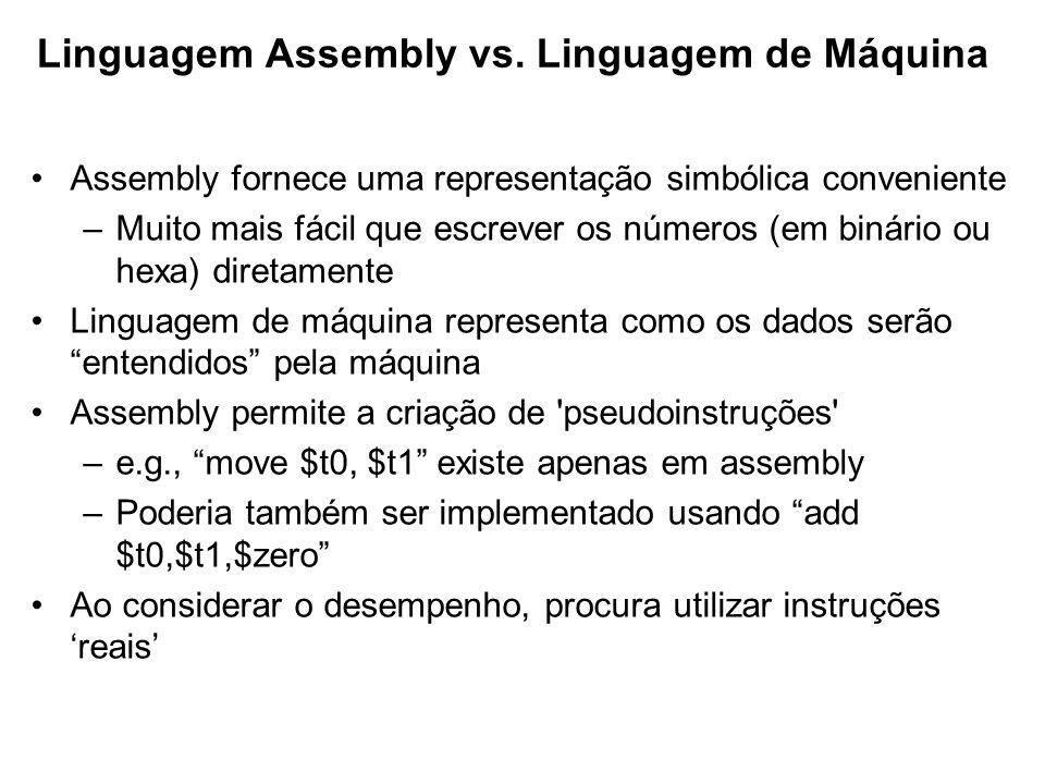 Assembly fornece uma representação simbólica conveniente –Muito mais fácil que escrever os números (em binário ou hexa) diretamente Linguagem de máqui