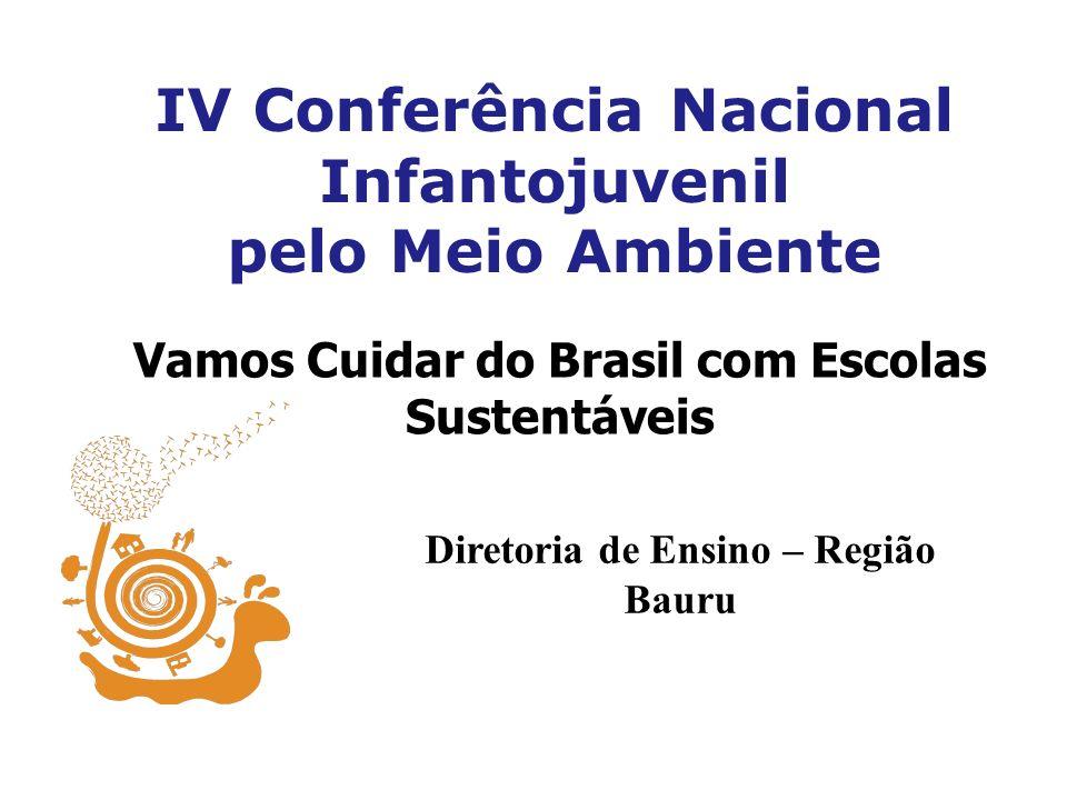 IV Conferência Nacional Infantojuvenil pelo Meio Ambiente Vamos Cuidar do Brasil com Escolas Sustentáveis Diretoria de Ensino – Região Bauru