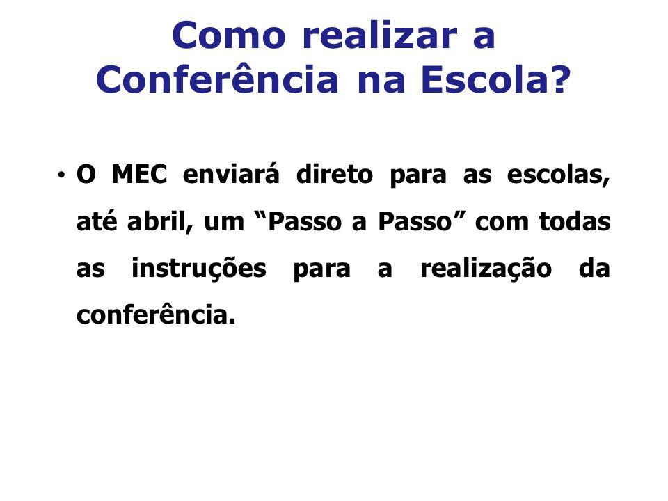 Como realizar a Conferência na Escola? O MEC enviará direto para as escolas, até abril, um Passo a Passo com todas as instruções para a realização da