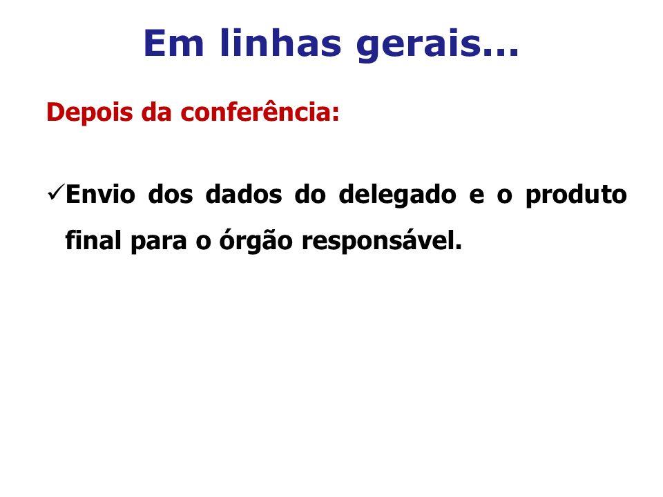 Em linhas gerais... Depois da conferência: Envio dos dados do delegado e o produto final para o órgão responsável.