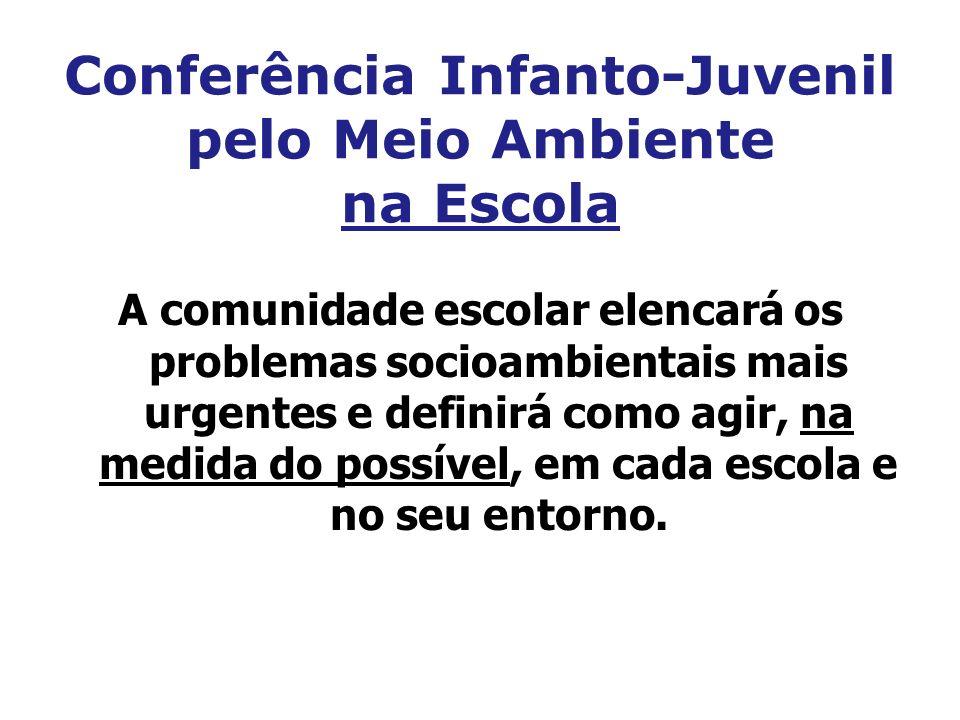 Conferência Infanto-Juvenil pelo Meio Ambiente na Escola A comunidade escolar elencará os problemas socioambientais mais urgentes e definirá como agir